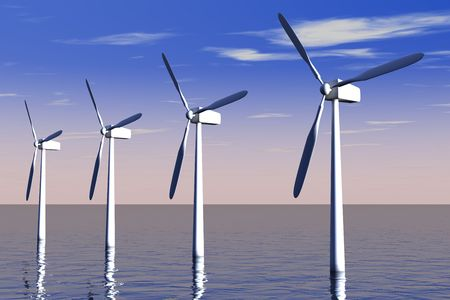 Wind turbine farm at sea with blue sky and white clouds