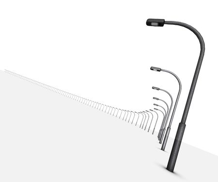 Copies of lamp posts in 3d on white backgound along curved shape