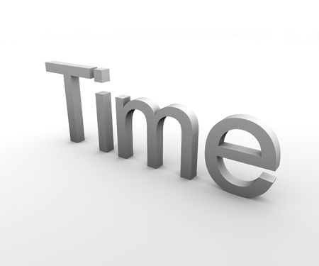3d Text describing the word time in gray on white background