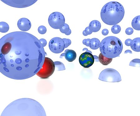 3D balls and globes falling towards white background Stock Photo