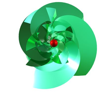 3D X mas tree from top in green and red on white background Stock Photo