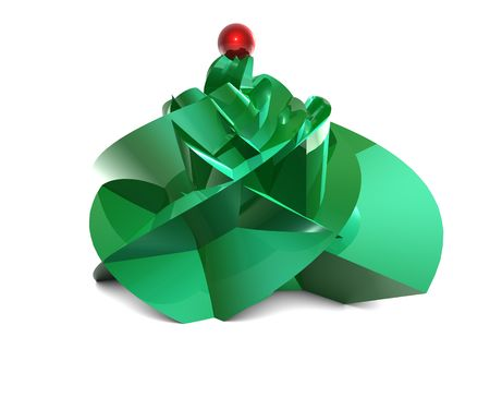 3D Abstract green xmas tree viewed in perspective on white backgrouns