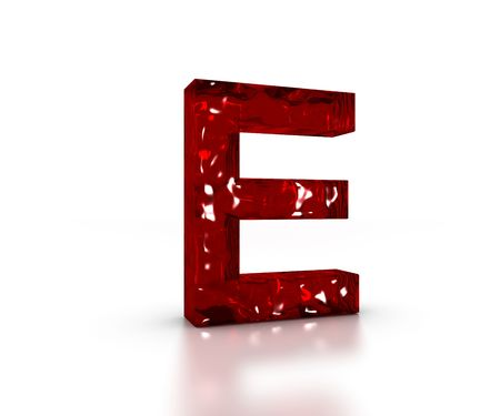 Red 3D glass Letter E in perspective on white background