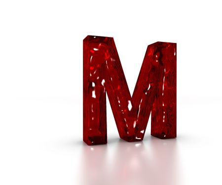 Red 3D glass Letter M in perspective on white background
