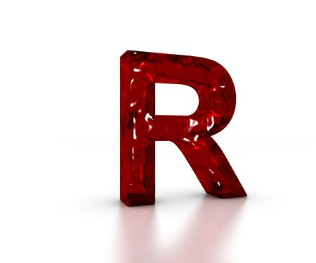 Red 3D glass Letter R in perspective on white background Stock Photo
