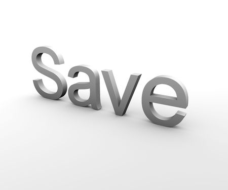 3d Text describing the word Save in gray on white background