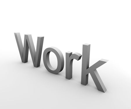 3d Text describing the word Work in gray on white background Stock Photo