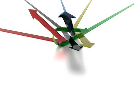 3D Arrows flying off in different directions being knotted on white background