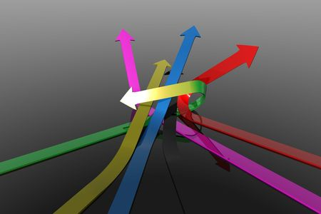 3D Arrows flying off in different directions being knotted on black background Stock Photo