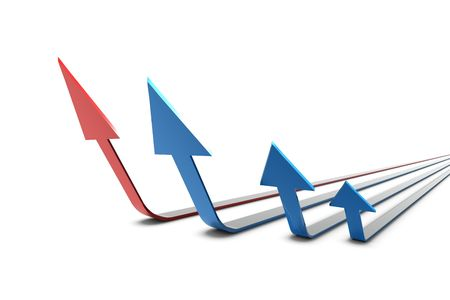 3D Arrows in red and blue standing in formation on white background