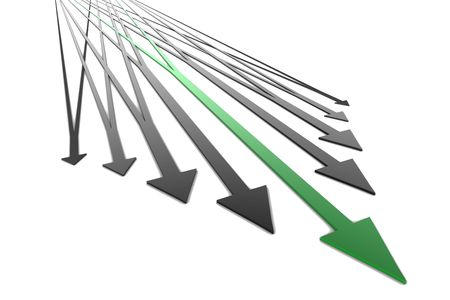 Arrows crossing eachother like traintracks on white background