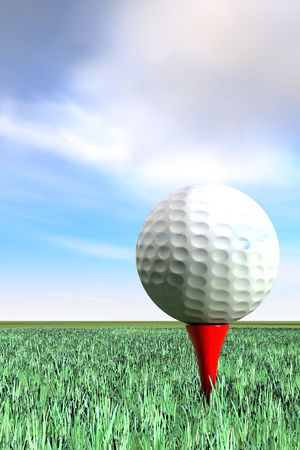 Golf ball with red t on grass and blue sky