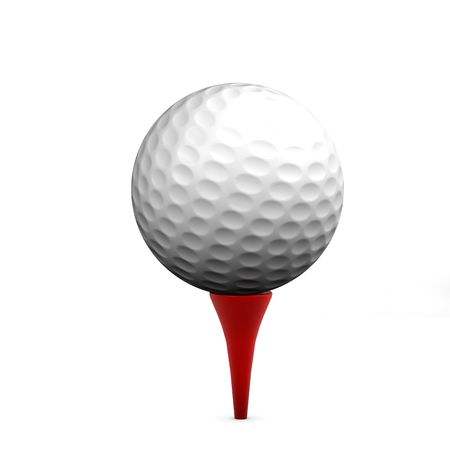 Golf ball on red tee on white background isolated