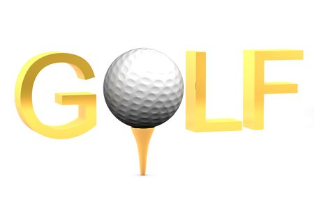 Golf ball on gold tee on white background isolated with text saying golf Stock Photo