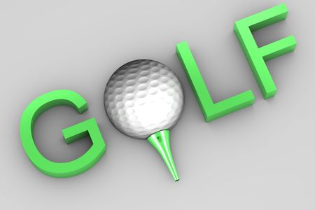 Golf ball on green tee on white background isolated with text saying golf