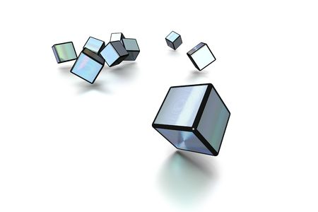 3D cubes in silver and black on white background