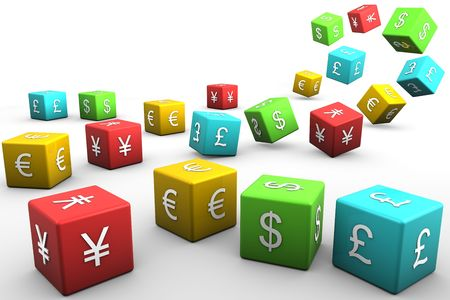 Currency Dice representing, yen, euro, dollar, and pound sterling from china, england, usa, and europe on white background