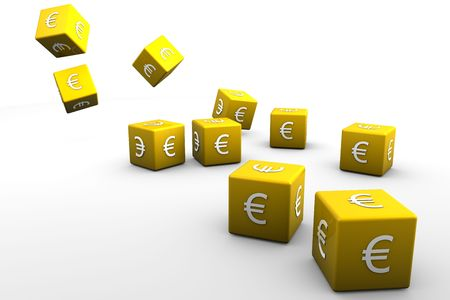 Yellow 3D dice with euro currency symbol on white back drop