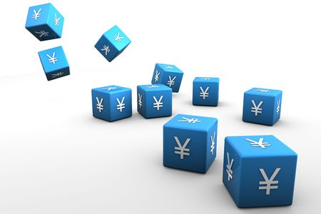 Blue 3D dice with the chinese yen symbole on white back drop