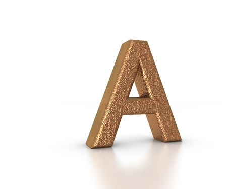 Font Three Dimensional Gold Letter A Alphabet on white background