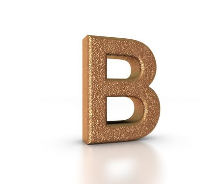 Font Three Dimensional Gold Letter B Alphabet on white background