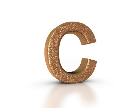 Font Three Dimensional Gold Letter C Alphabet on white background Stock Photo