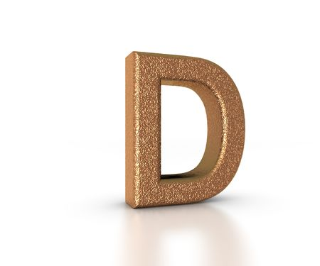 Font Three Dimensional Gold Letter D Alphabet on white background