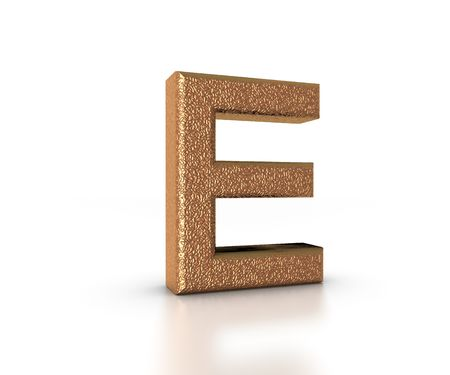 Font Three Dimensional Gold Letter E Alphabet on white background