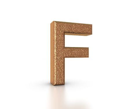 Font Three Dimensional Gold Letter F Alphabet on white background