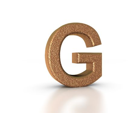 Font Three Dimensional Gold Letter G Alphabet on white background