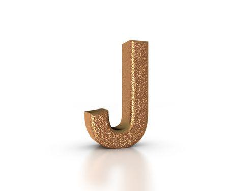 Font Three Dimensional Gold Letter J Alphabet on white background Stock Photo