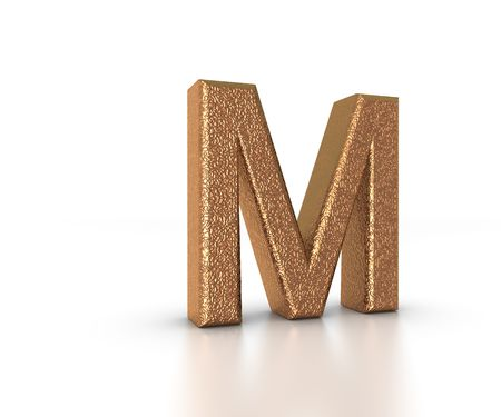 Font Three Dimensional Gold Letter M Alphabet on white background