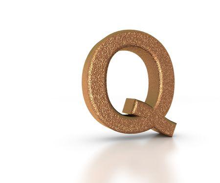 Font Three Dimensional Gold Letter Q Alphabet on white background photo