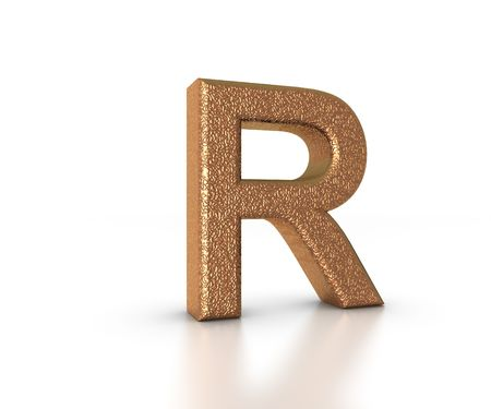 Font Three Dimensional Gold Letter R Alphabet on white background Stock Photo