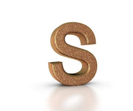 Font Three Dimensional Gold Letter S Alphabet on white background Stock Photo