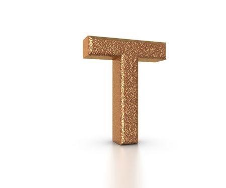 Font Three Dimensional Gold Letter T Alphabet on white background Stock Photo