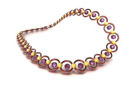 Necklace on white back drop with purple stones