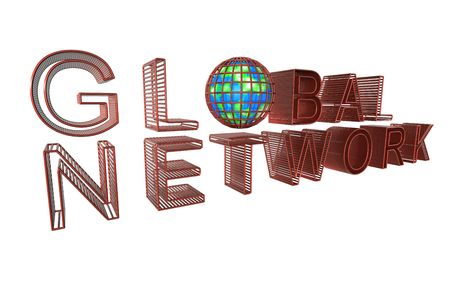 Red Text Font Global Network on white back drop