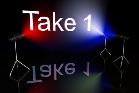 Take one sign on black background lit by multycolored lights Stock Photo