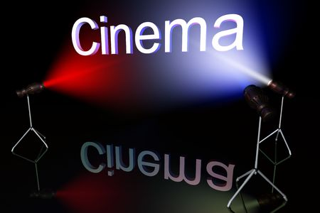 multycolored: Cinema sign on black background lit by multycolored lights Stock Photo