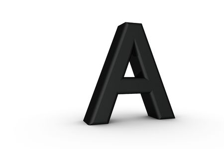 3D Font Alphabet Letter A in Black on white Back Drop