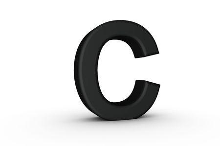 3D Font Alphabet Letter C in Black on white Back Drop