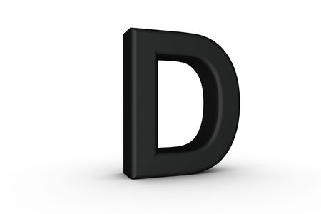 3D Font Alphabet Letter D in Black on white Back Drop