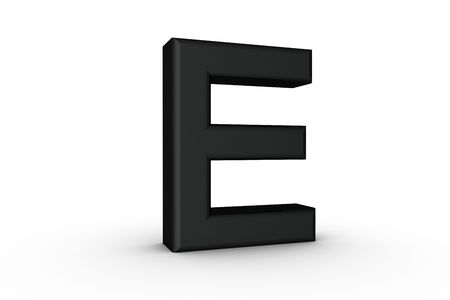 3D Font Alphabet Letter E in Black on white Back Drop Stock Photo