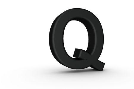 3D Font Alphabet Letter Q in Black on white Back Drop