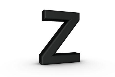 3D Font Alphabet Letter Z in Black on white Back Drop Stock Photo - 5197762
