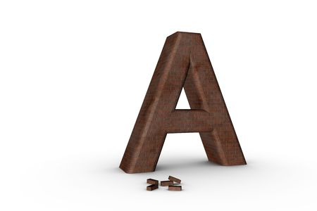 3D Font Alphabet Letter A in Brick texture on white Back Drop Stock Photo