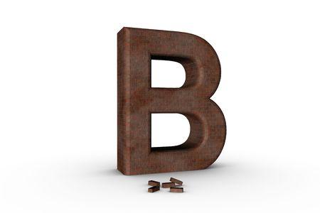 3D Font Alphabet Letter B in Brick texture on white Back Drop