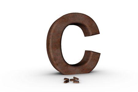 3D Font Alphabet Letter C in Brick texture on white Back Drop