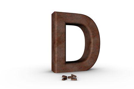 3D Font Alphabet Letter D in Brick texture on white Back Drop Stock Photo